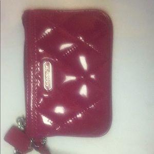 Handbags - Bright pink leather coach wristlet